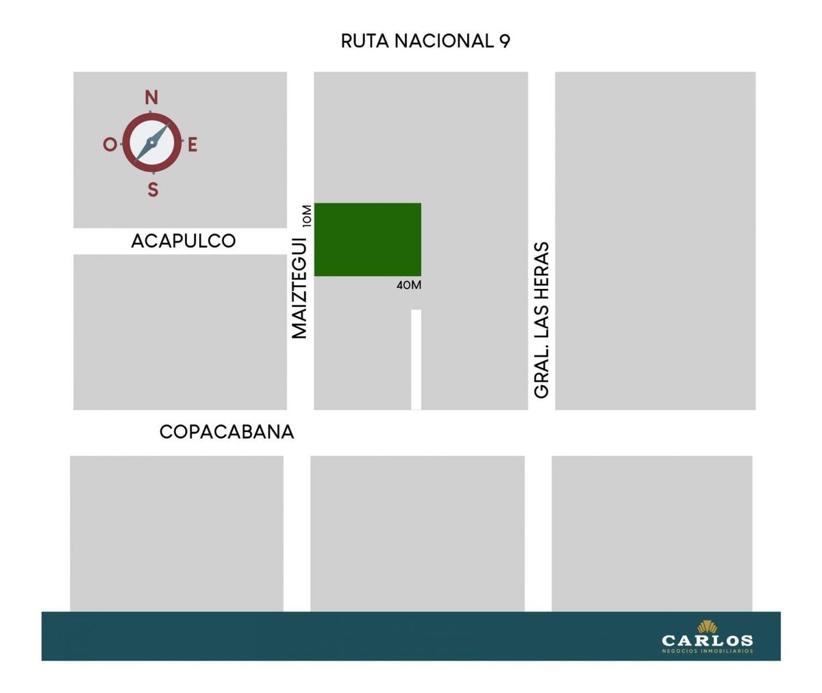 lote 400 m2 sobre calle maiztegui y acapulco (80 mts ruta)
