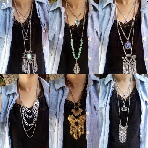 lote 45 colares femininos variados de qualidade para revenda