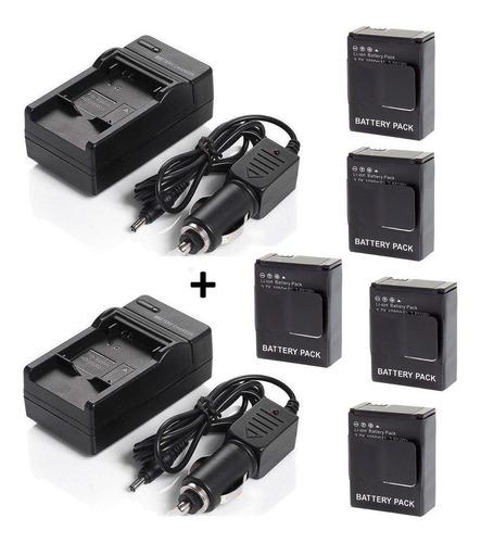 lote 5 baterias ahdbt-302 gopro hero 3 + dois carregadores