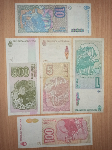 lote 5 billetes antiguos argentinos 1-5-10-100-500 australes