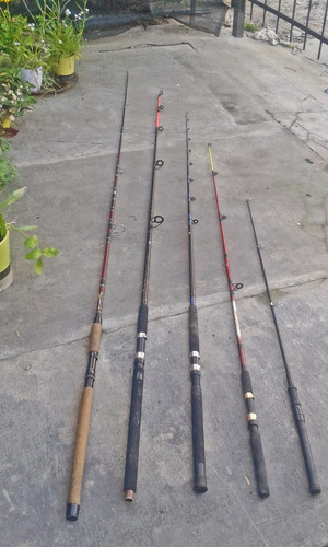 lote 5 cañas  de pescar