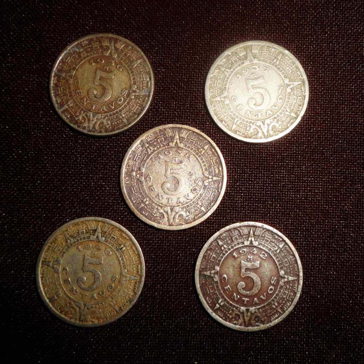 Calendario 1936.Lote 5 Centavos 1936 1942 Calendario Azteca Inlcuye 1938 300 00
