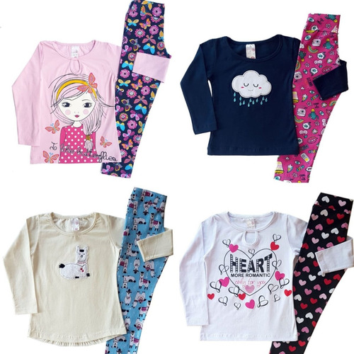 lote 5 conjuntos femininos infantil roupas atacado juvenil