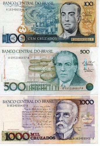 lote 5 nota dinheiro antigo cédulas cruzeiros cruzados