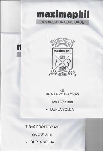lote 5 protetores de selos maximaphil transparente preto