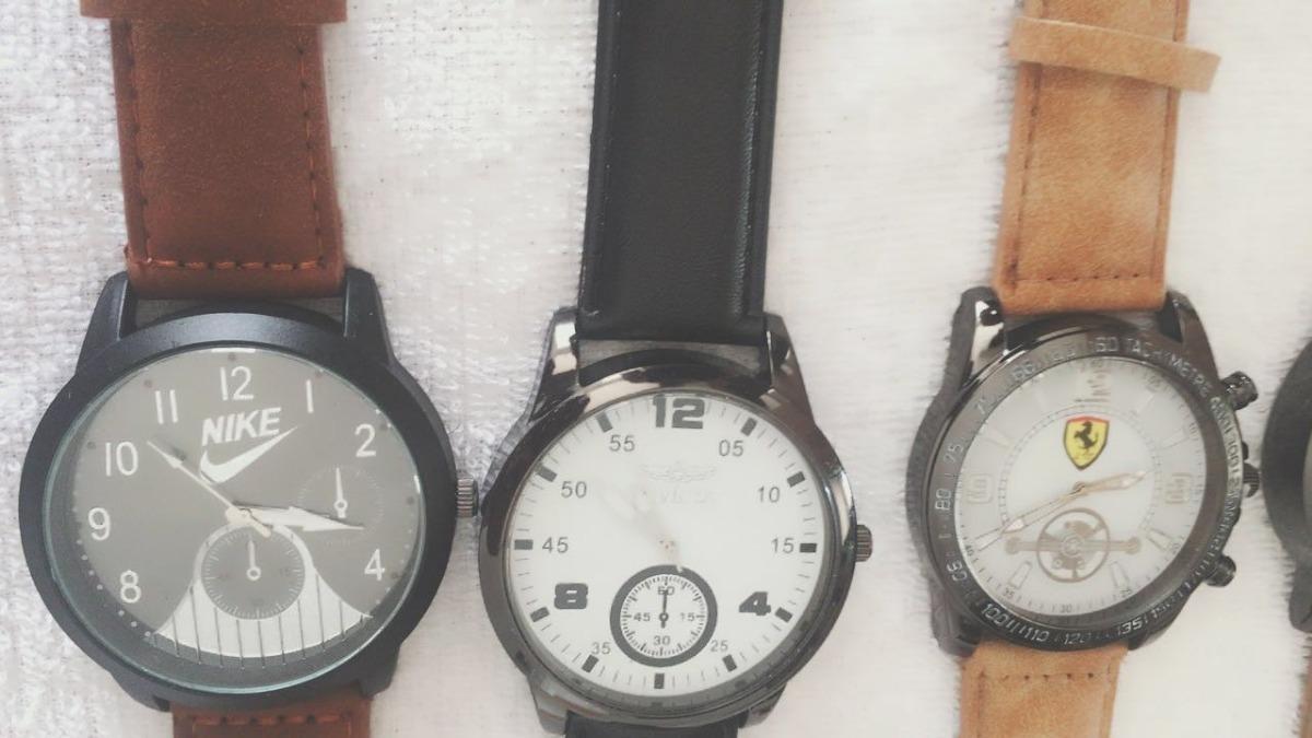 854bb8b081c lote 5 relógios masculinos couro barato várias cores top. Carregando zoom.