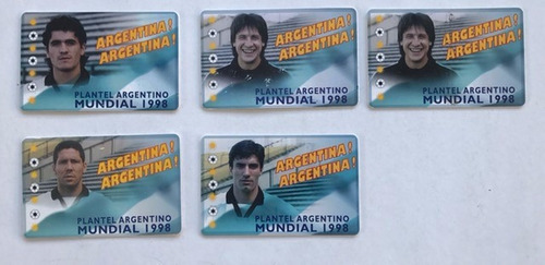 lote 5 tarjetas telefonica seleccion argentina mundial 78