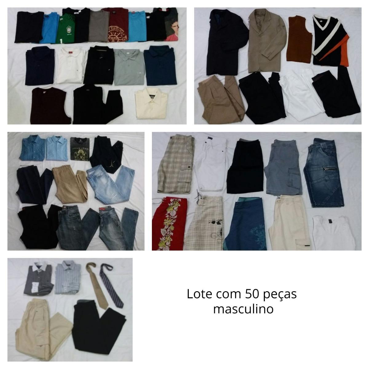 bff50fd259a lote 50 peças roupa masculina para brechó - calça camisa. Carregando zoom.