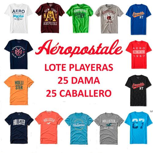 lote 50 playeras dama y caballero aeropostale hollister 2018