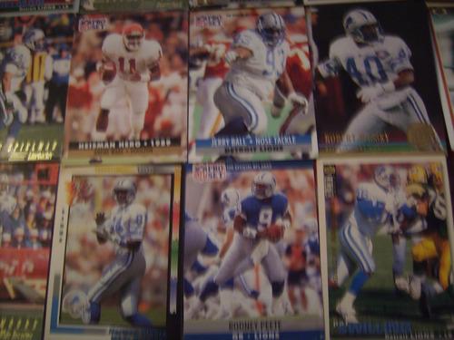 lote 50 tarjetas futbol americano leones de detroit
