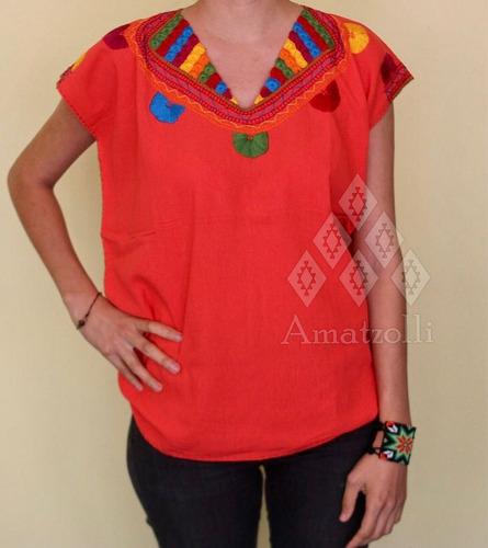 lote 6 blusas artesanales mexicanas bordado modelo rubí