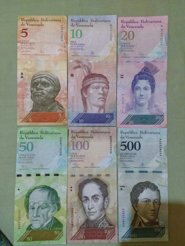 lote 6 cedulas da venezuela(1 fe 4 sob 1mbc)frete incluso