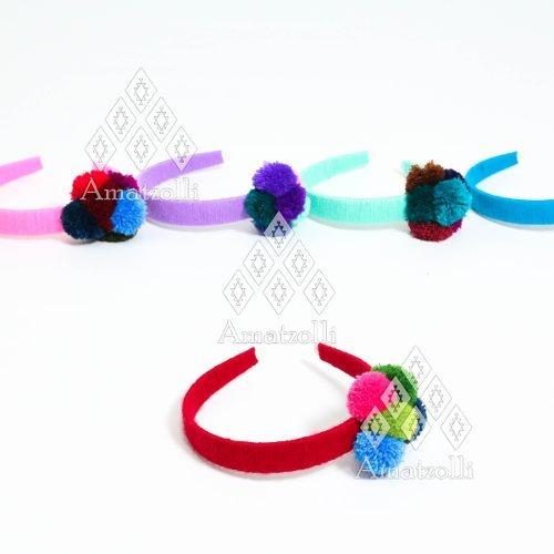 lote 6 diademas artesanales mexicanas tejidas y con pompón