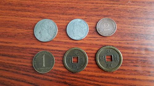 lote 6 monedas extranjeras antiguas brasil alemania etc