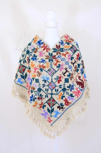 lote 6 ponchos mañanita artesanales de lana bordado