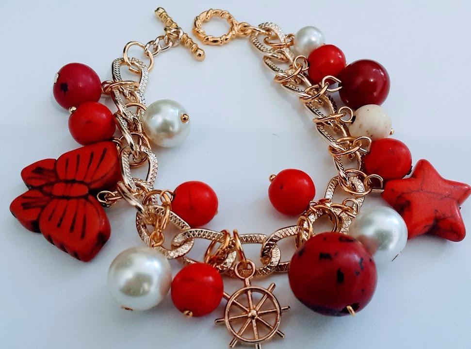 8613bdc705c6 lote 6 pulsera de moda piedra turquesa cristales dijes perla. Cargando zoom.