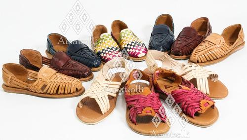 lote 6 sandalia huarache artesanal mexicano cerrado de piel