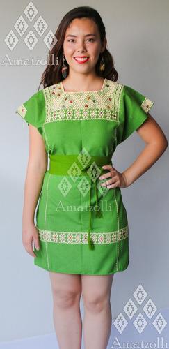 lote 6 vestido elena artesanal mexicano manta bordado telar