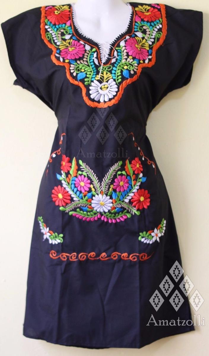 Lote 6 Vestidos Artesanales Mexicanos Con Tulipanes Bordados