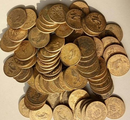 lote (60) 100 moedas de 1000 reis de 1922 a 1927