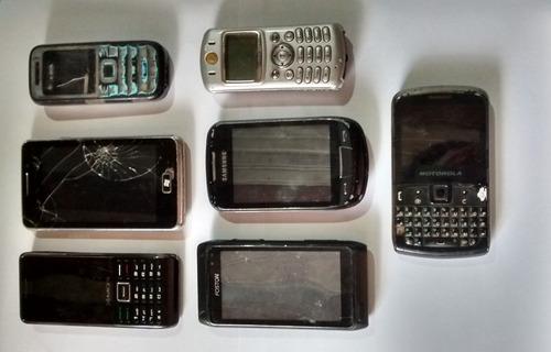 lote 7 celulares com defeito para retirar peças celular peça