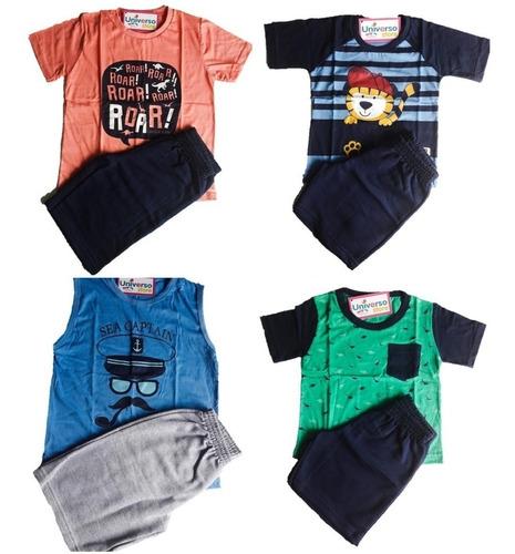 lote 7 conjuntos infantil menino 1 a 14 roupa criança atacad