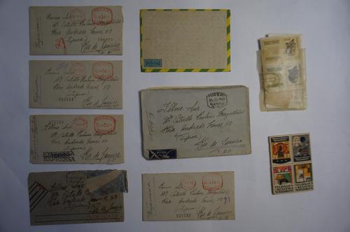 lote 7 envelopes aéreos vasp e selos antigos e raros confira