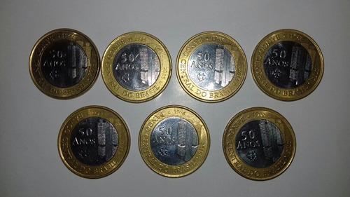 lote 7 moedas comemorativas de 1 real 50 anos banco central