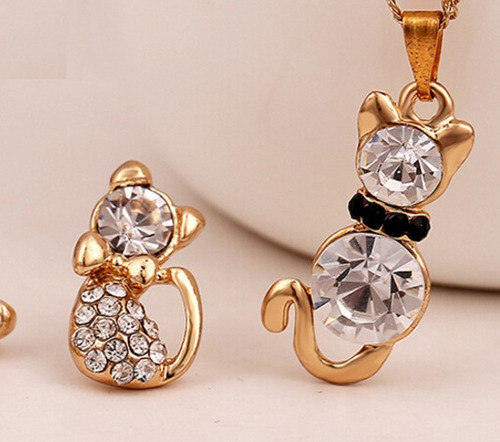 lote 7 set de collar y aretes gatitos cristales envío gratis