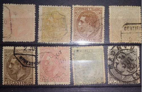 lote 8 muy antiguas estampillas1879 alfonso xii españa