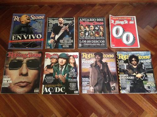 lote 8 revistas rolling stone (indio solari, ac/dc y más)