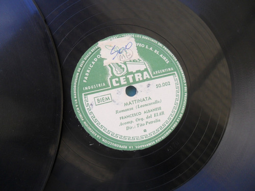 lote 9 disco pasta antigua musica lirica opera clasico vals