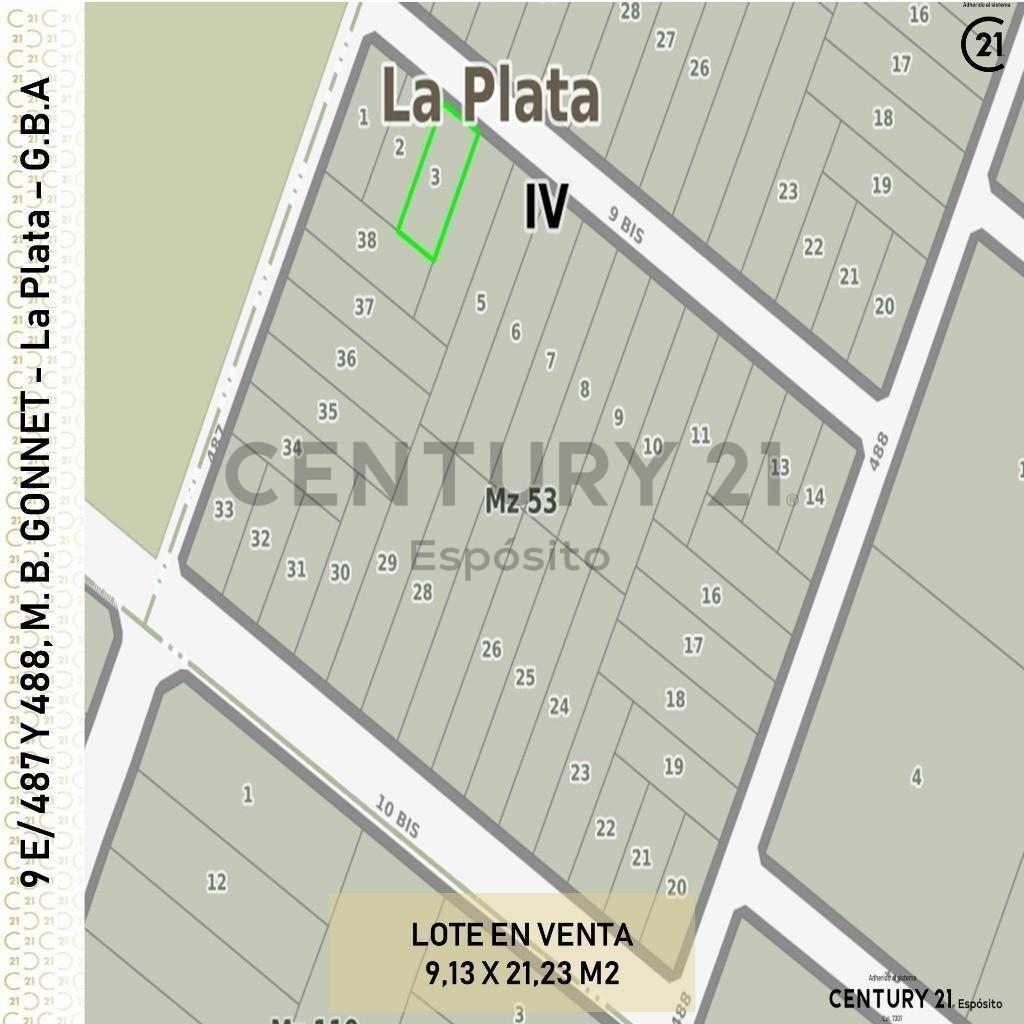 lote  9 e/ 487 y 488  retasado m.b. gonnet