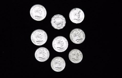 lote 9 monedas uruguayas de aluminio