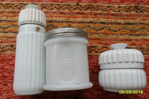 lote antiguos frascos crema uno opalina ponds