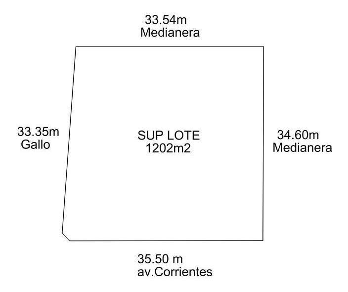 lote av. corrientes esquina gallo 37 x 35 1200 m2 de tierra apto 12.000 m2 vendibles