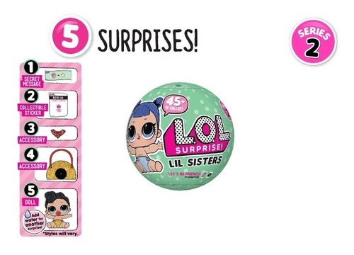 lote c/2 bonecas lol 5 surpresas mini lil sisters bonellihq