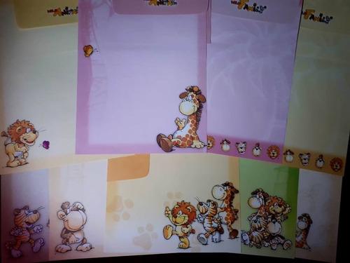 lote c/9 conjuntos de papel de carta família de animais