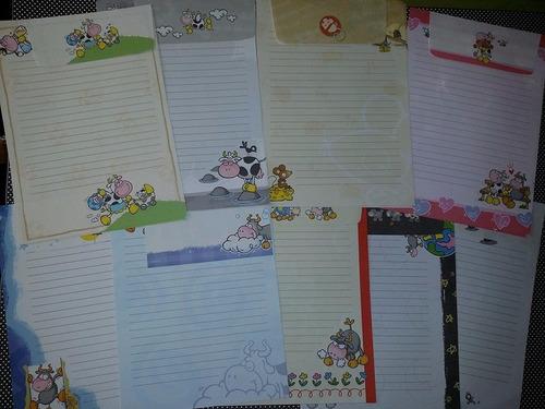 lote c/9 conjuntos de papel de carta vaquinhas shinn jee
