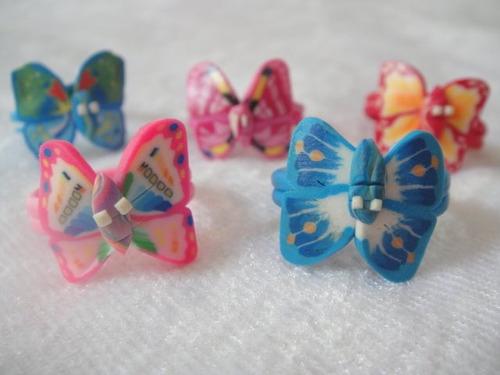 lote caja de 36 bellos anillos mariposas para niñas al mayor