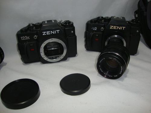 lote camera zenit 122k lente 58mm e lente 200mm