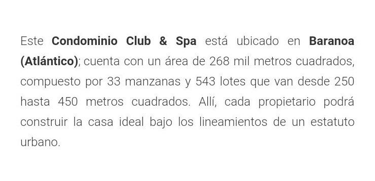 lote campestre, condominio club spa, laguna mar 254 mt2