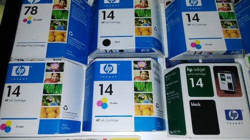 lote cartucho tinta hp14 y hp78 inkjet color / negro