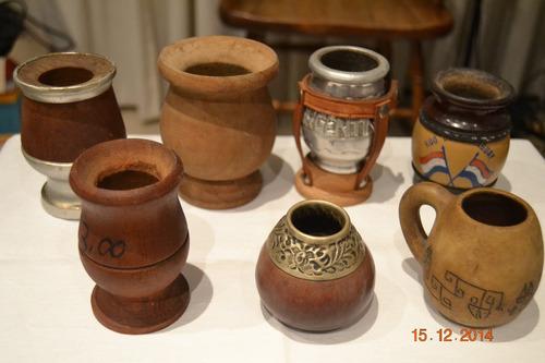lote coleccion mates ceramica madera calabaza y metal
