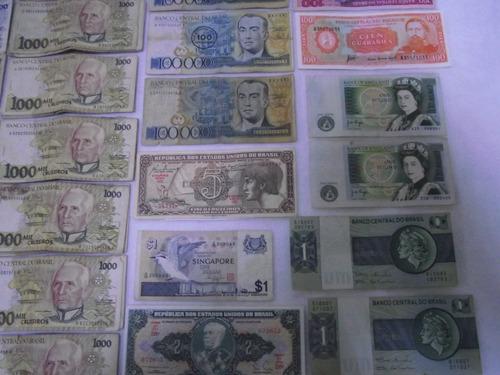 lote coleção dinheiro antigo cédulas antiga notas rara