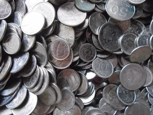 lote com 10 quilos de moedas de aço sortidas para garimpar