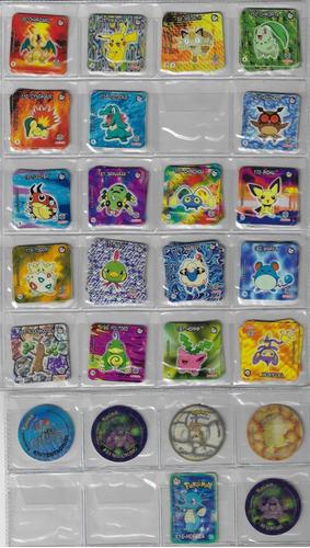 lote com 10 tazos da coleção elma chips pokémon