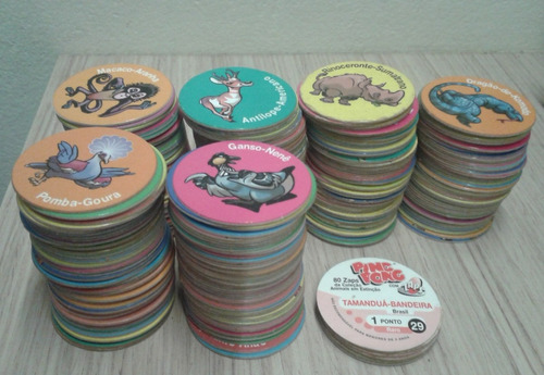 lote com 10 tazos ping pong zaps animais em extinção