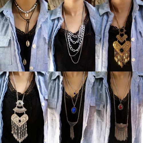lote com 15 colares atacado de bijuterias de luxo
