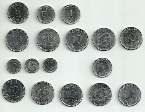 lote com 17 moedas - cruzado centavos - 1986 - 1987 - 1988